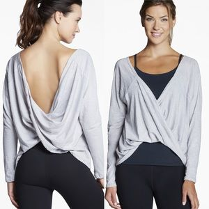 Fabletics Switch Back Tee Light Grey Sz XS